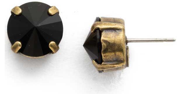 Sorrelli - Round Jet Crystal Stud Earrings