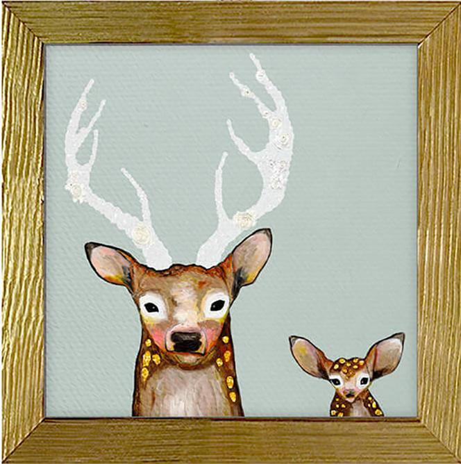 Frosted Buck and Baby Canvas