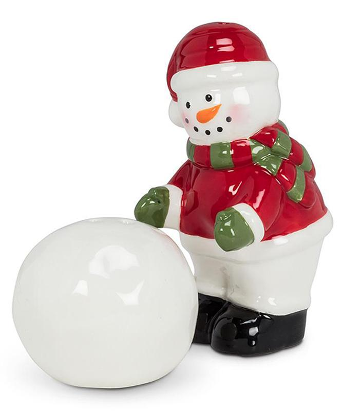 Snowman and Snowball Salt and Pepper Shakers