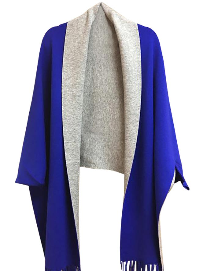 Royal Blue and Grey Cape with Sleeves