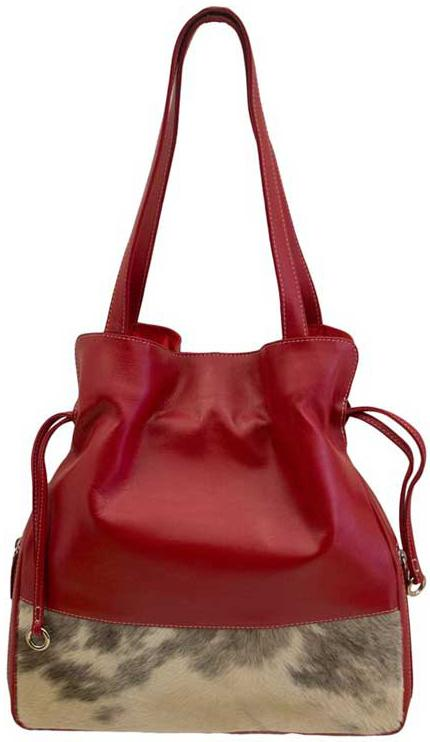 Red Leather and Cowhide Purse