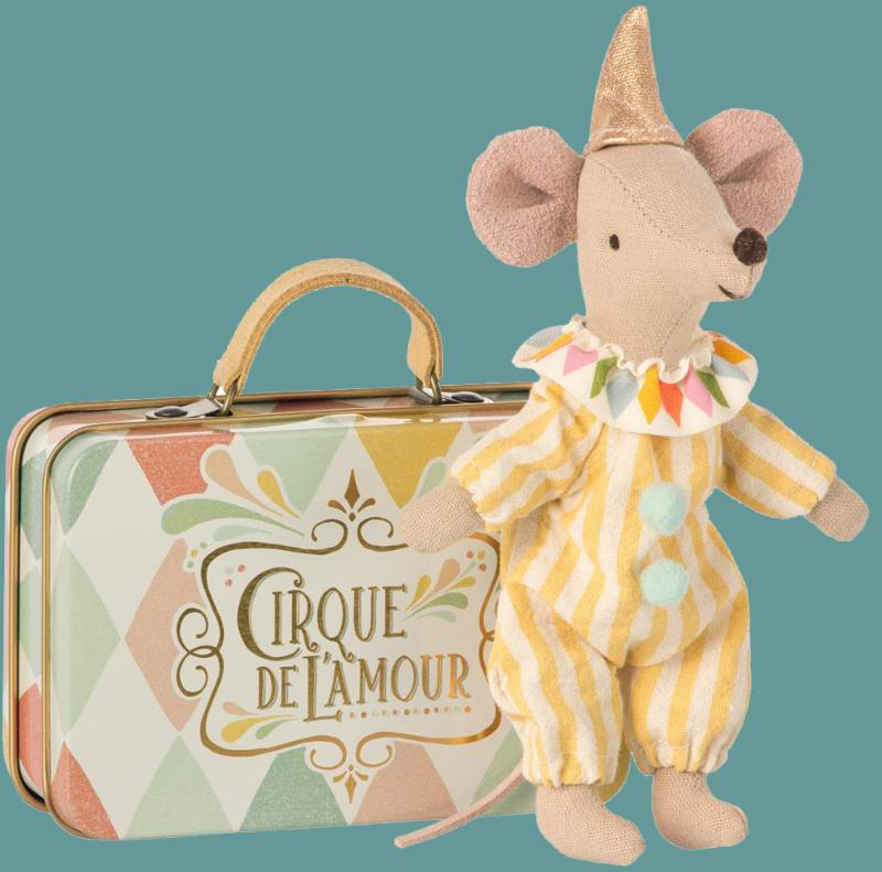 Maileg - Clown Brother Mouse in Suitcase