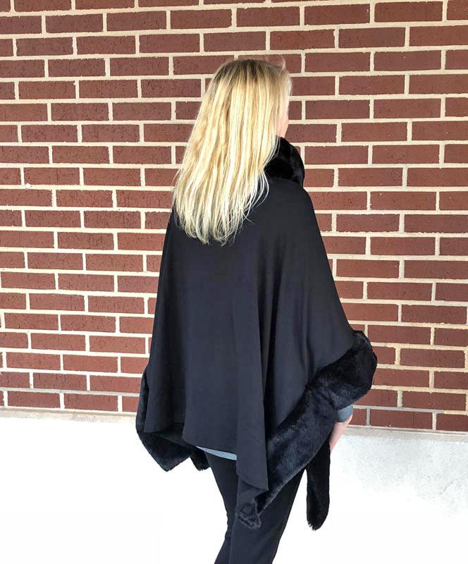 Black Bamboo Cape with Fur Collar