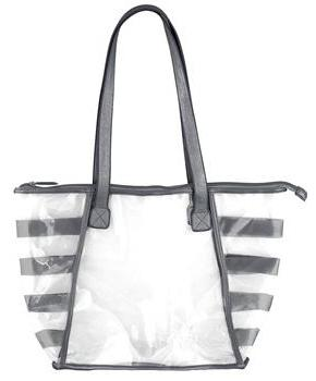 Clear Vinyl with Charcoal Tote Bag