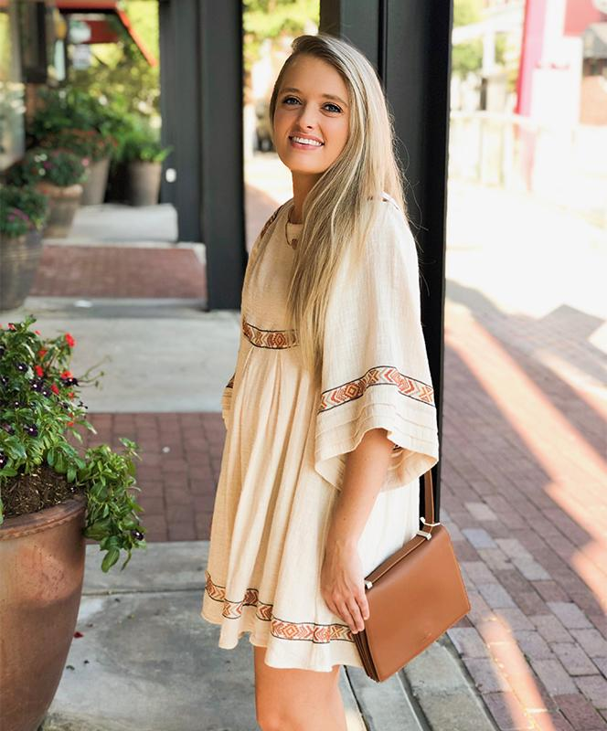 ivory embrd dress cognac crossbody