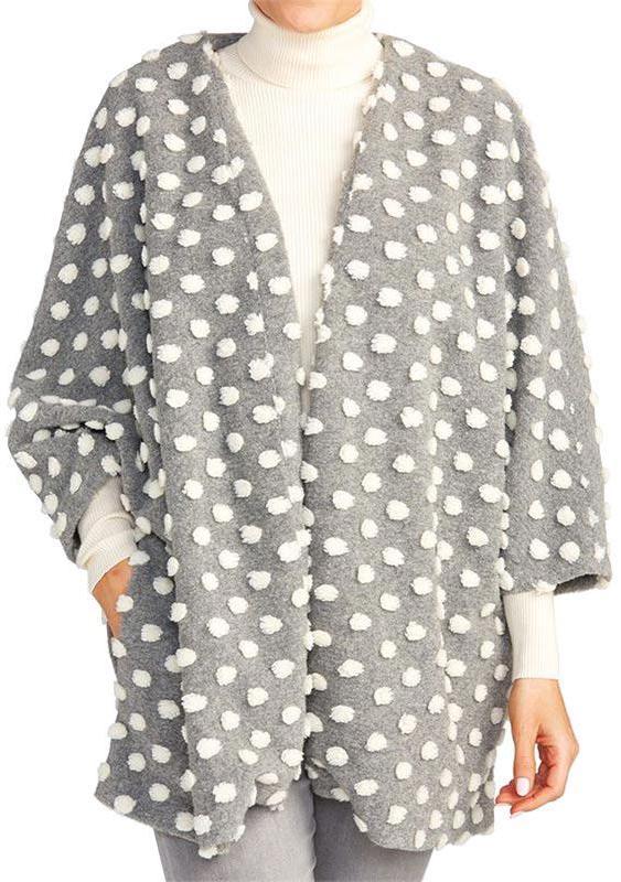 Grey Jacket with Pom Poms