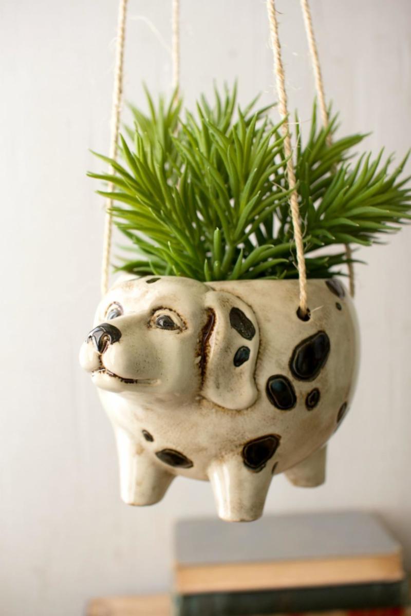 Ceramic hanging dog planter