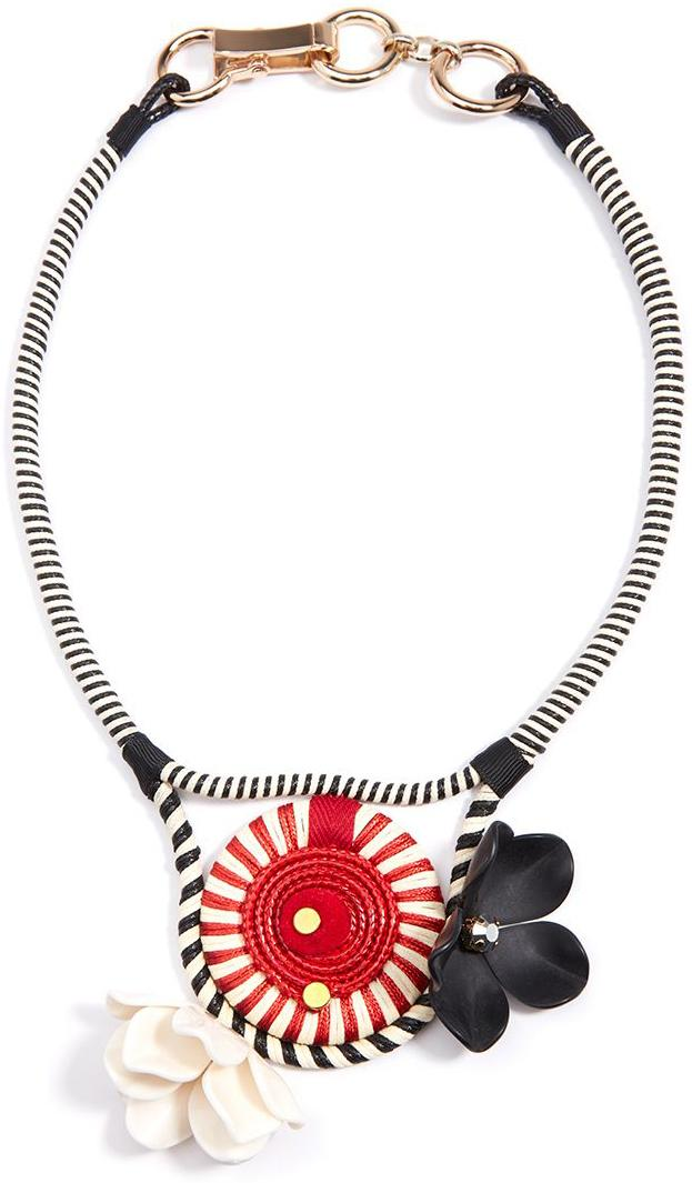 Striped Red Pinwheel and Flower Collar Necklace