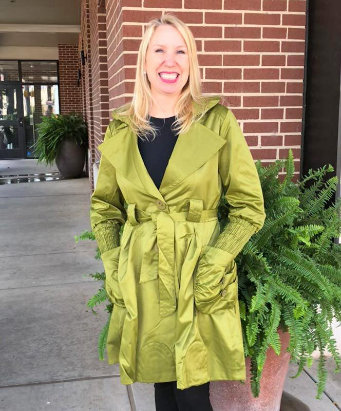 Green Satiny Coat with Buttons and Ruffles
