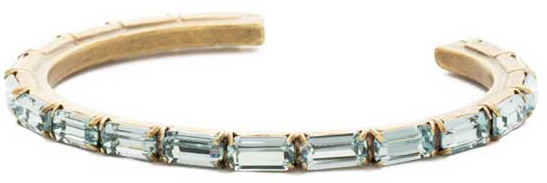 Brilliant Aquamarine Crystal Baguette Cuff