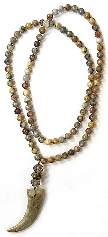 Brown Stone Necklace with Tusk