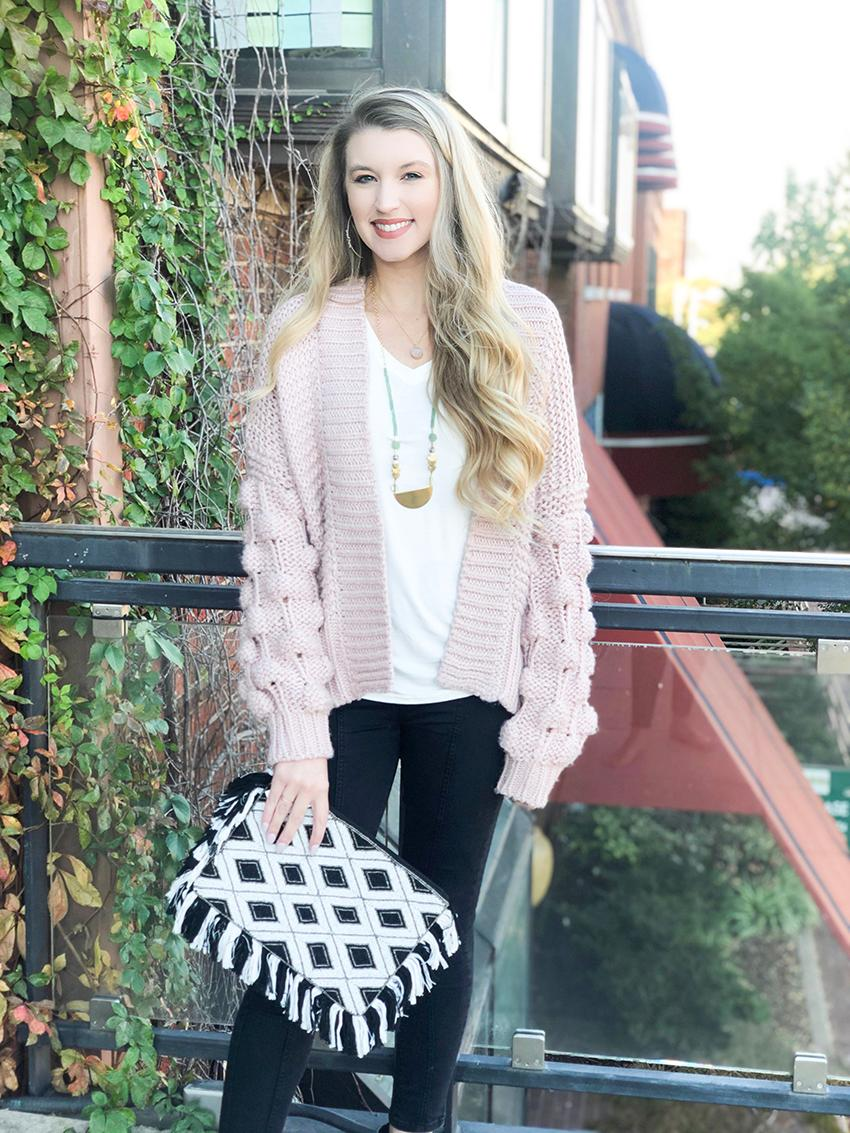 Rose Bubble Sleeved Sweater