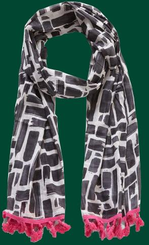 Black and White Paint Scarf with Pink Tassels