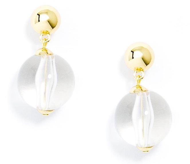 Clear Lucite Bead Drop Earring