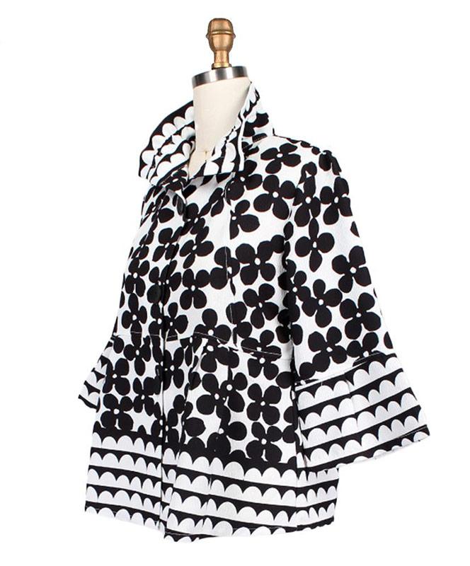 Short Black White Floral Jacket