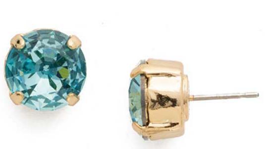 Sorrelli Round Crystal Aquamarine Stud Earrings