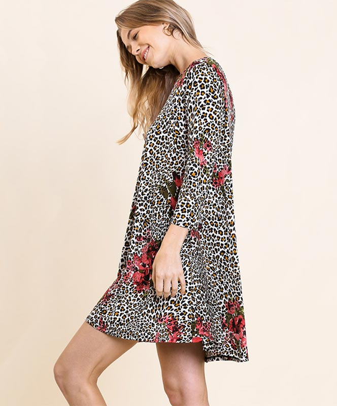Floral and Leopard Swing Dress