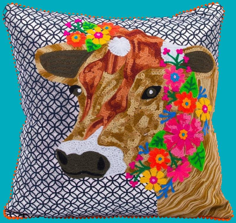 Cow and Flowers Pillow