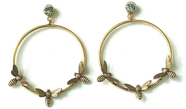 Bees on Hoop Earrings