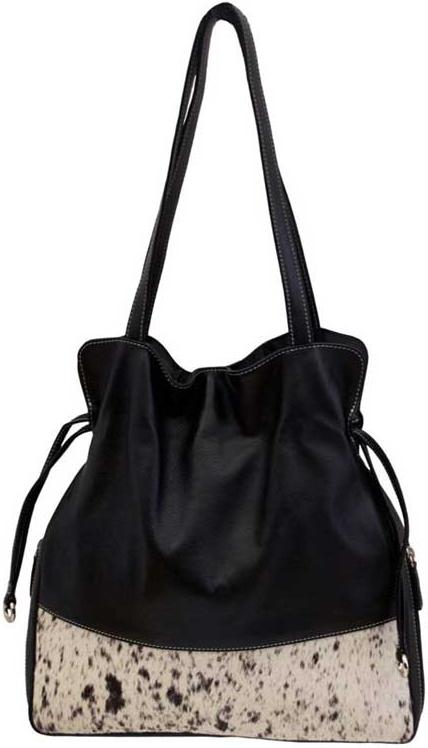 Black Leather and Cowhide Purse