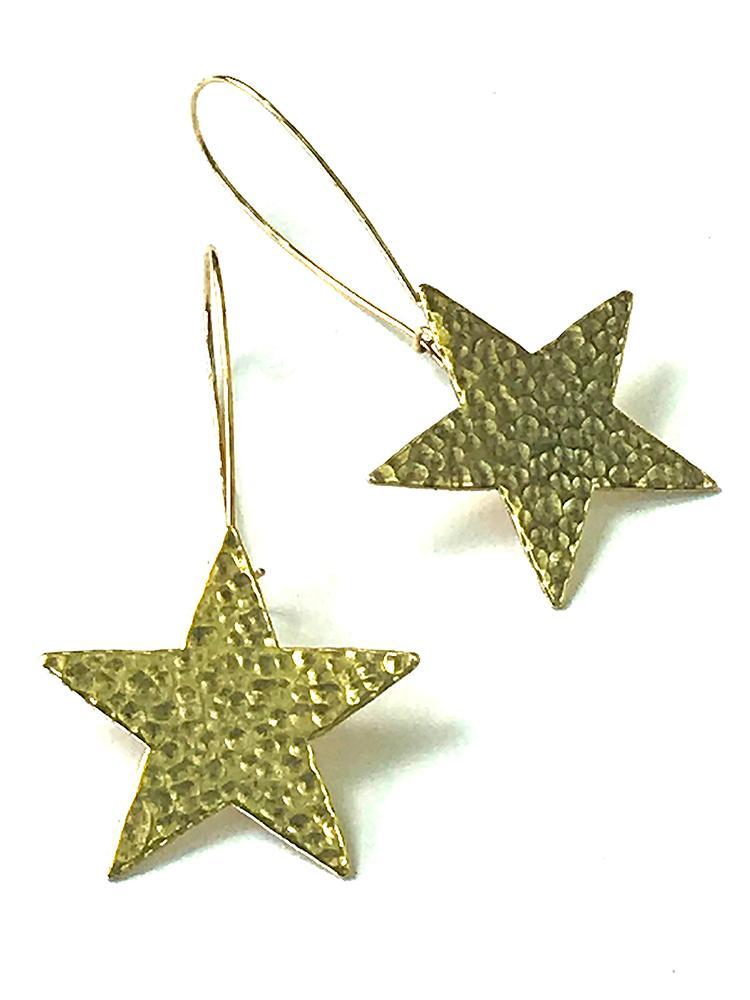 Gold Star on Wire Earrings