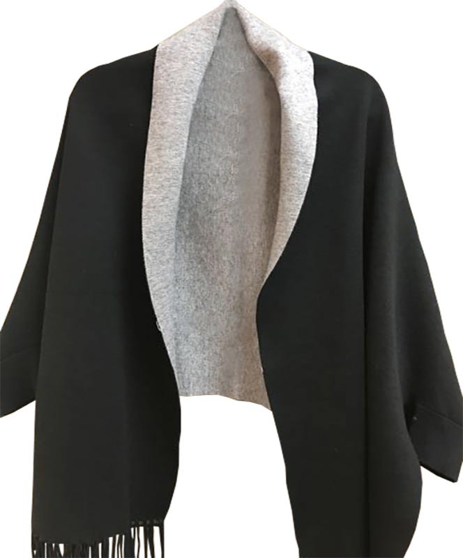Black and Grey Cape with Sleeves