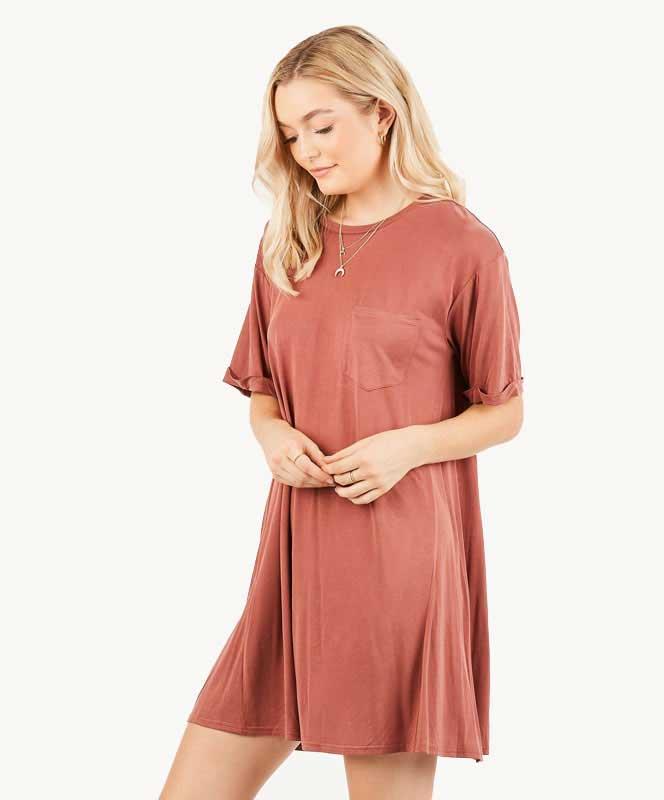 T Shirt Dress - Brick