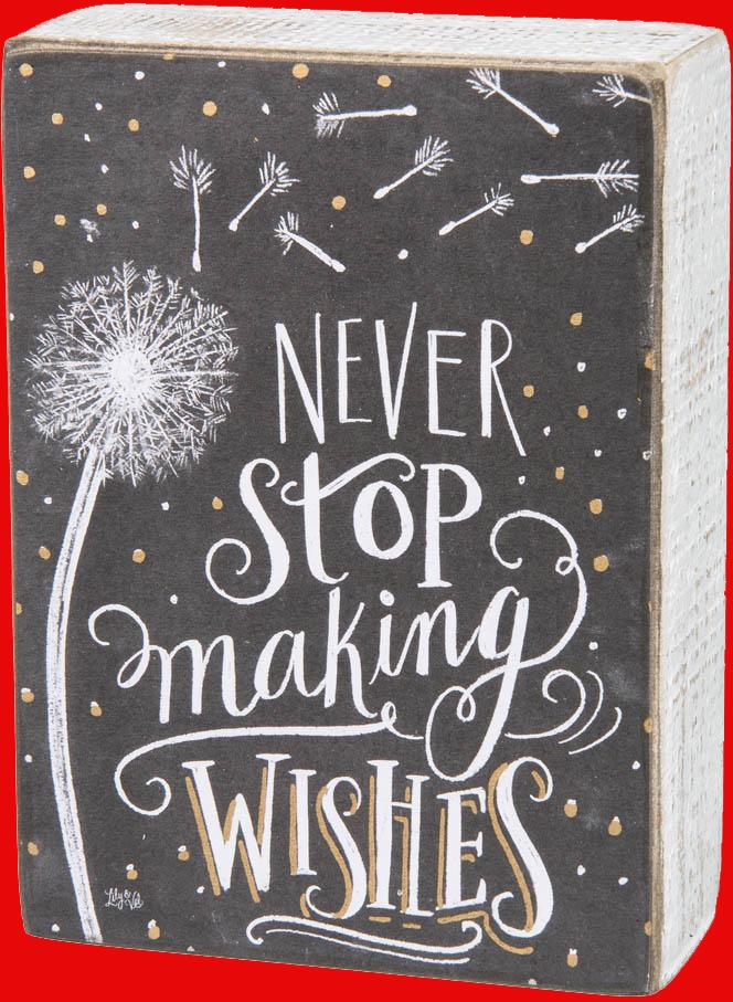Never stop making wishes wooden sign