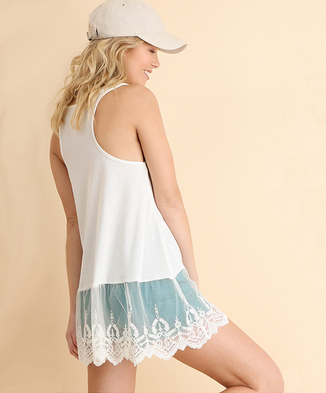 Off White Lace Trimmed Tank