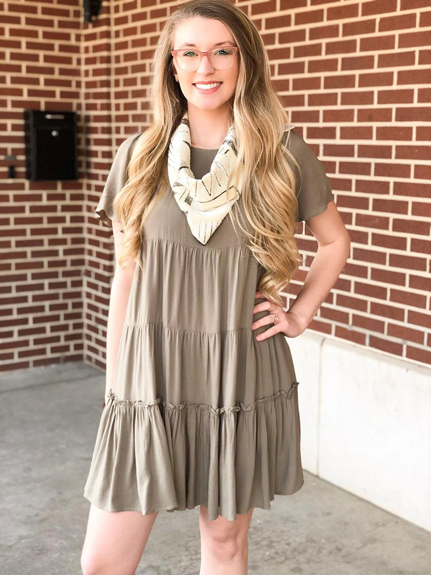 Olive Tiered Ruffle Dress