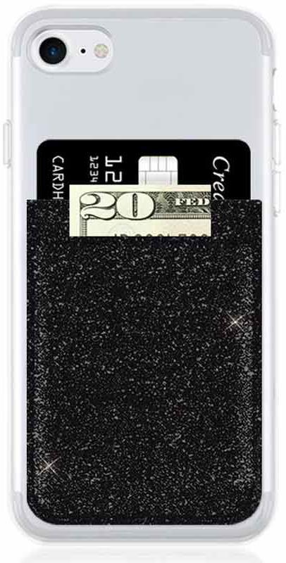 Black Glitter Phone Pocket