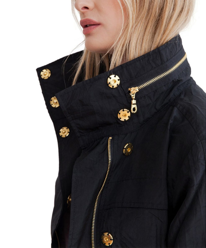 Black Crinkle Nylon Jacket