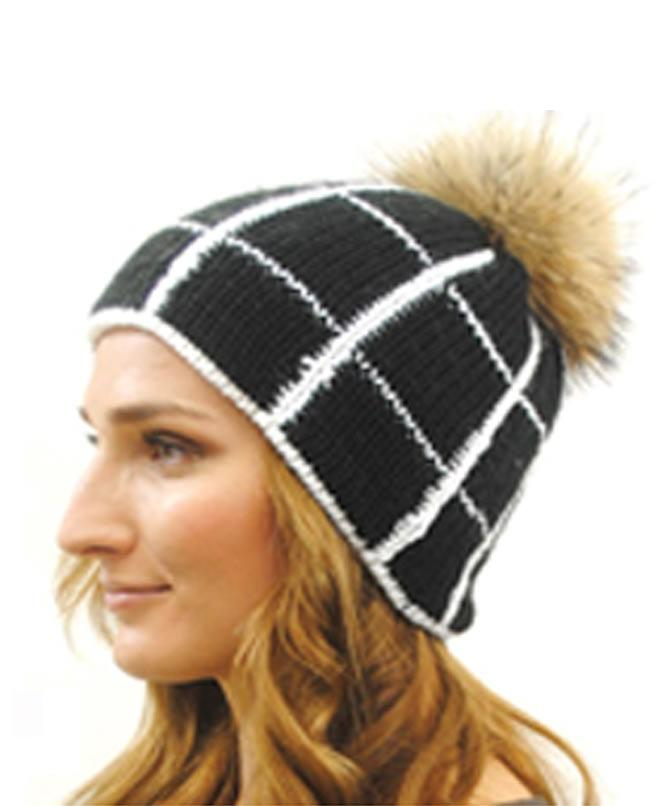 Black with White Stripes and Fur Ball Cap