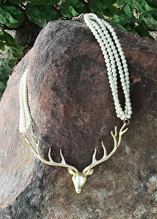 Deer Gold and Pearl Necklace