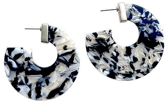 Black Flat Hoop Earring