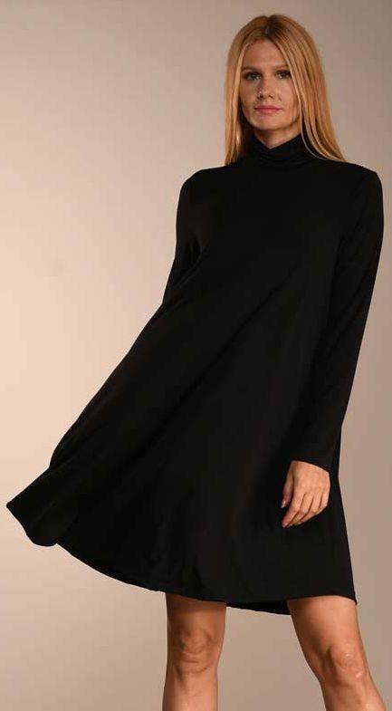 Black Turtle Neck Swing Dress