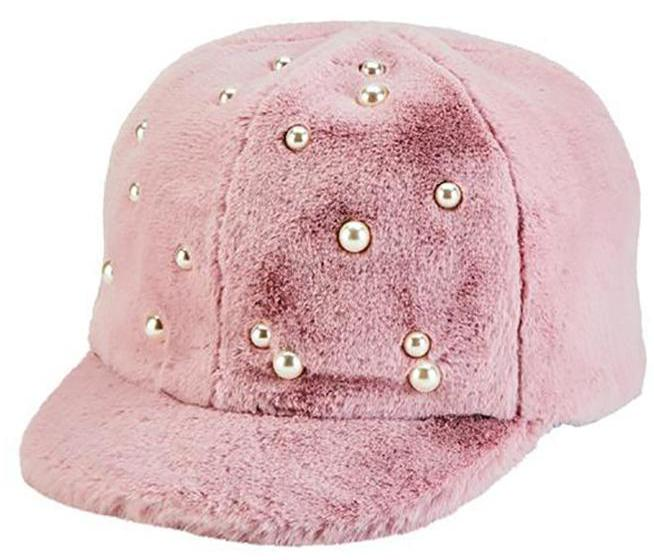 Blush Faux Fur Hat with Pearls
