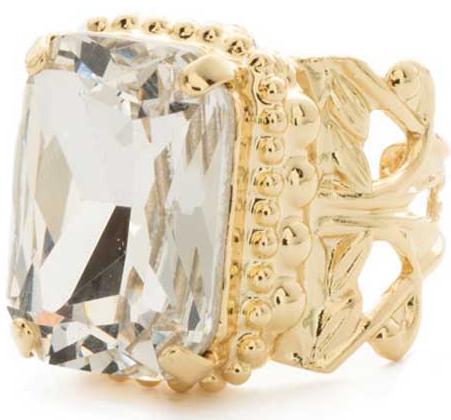 Emerald Cut Clear Crystal Ring
