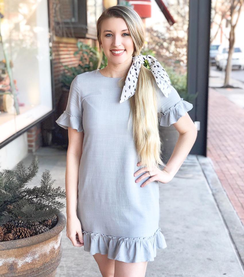 Grey Dress with Ruffle Hem