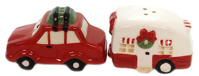 Christmas Car and Camper Salt and Pepper Shakers