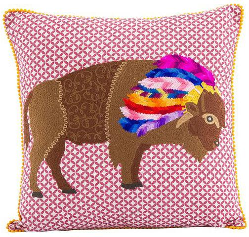 Bison Embroidered Pillow