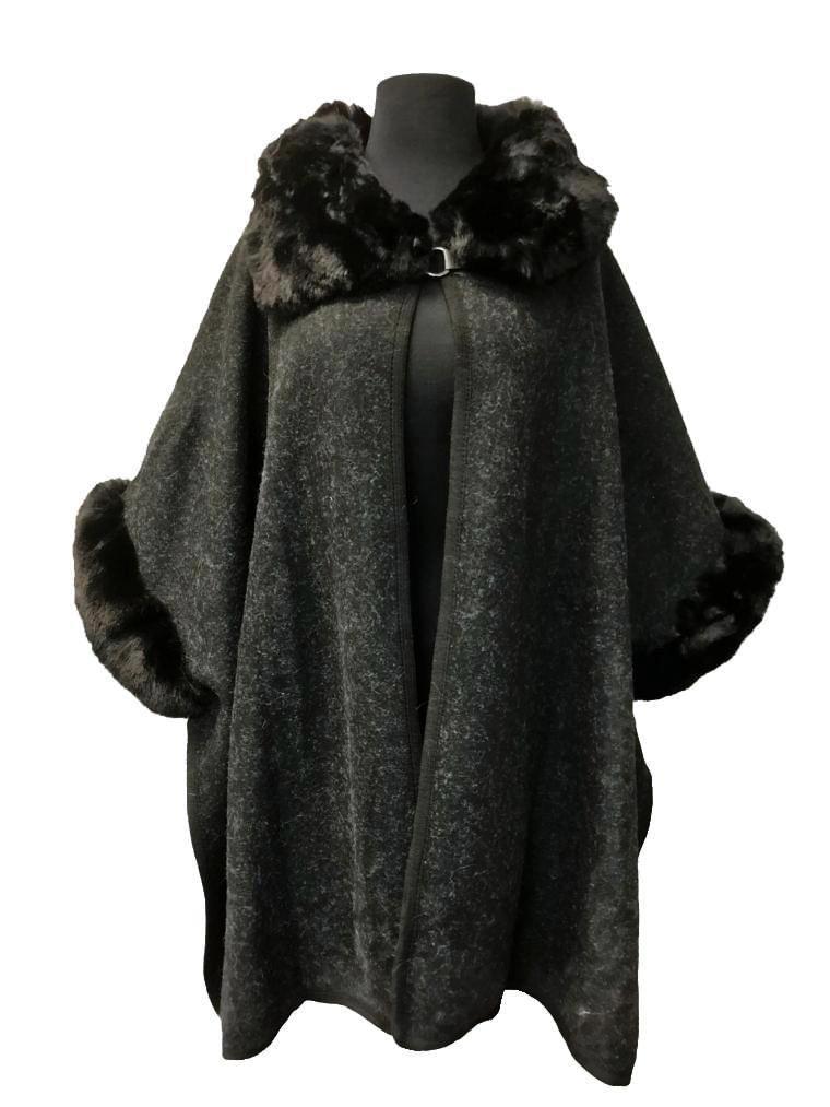 Black Wool Cape with Fur Collar