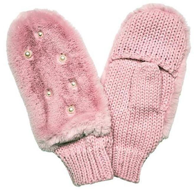 Blush Faux Fur Gloves with Pearls