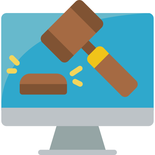 Illustration of computer screen with auction gavel