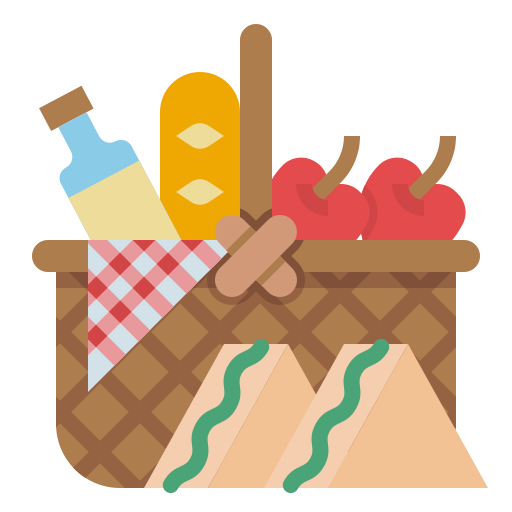 An illustrated picnic basket with food and wine