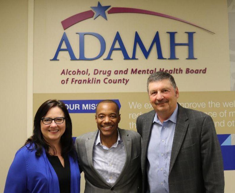 Peggy Anderson, Board Chair; Kevin Dixon, Ph.D., ADAMH Interim CEO; David A. Royer, Past ADAMH CEO