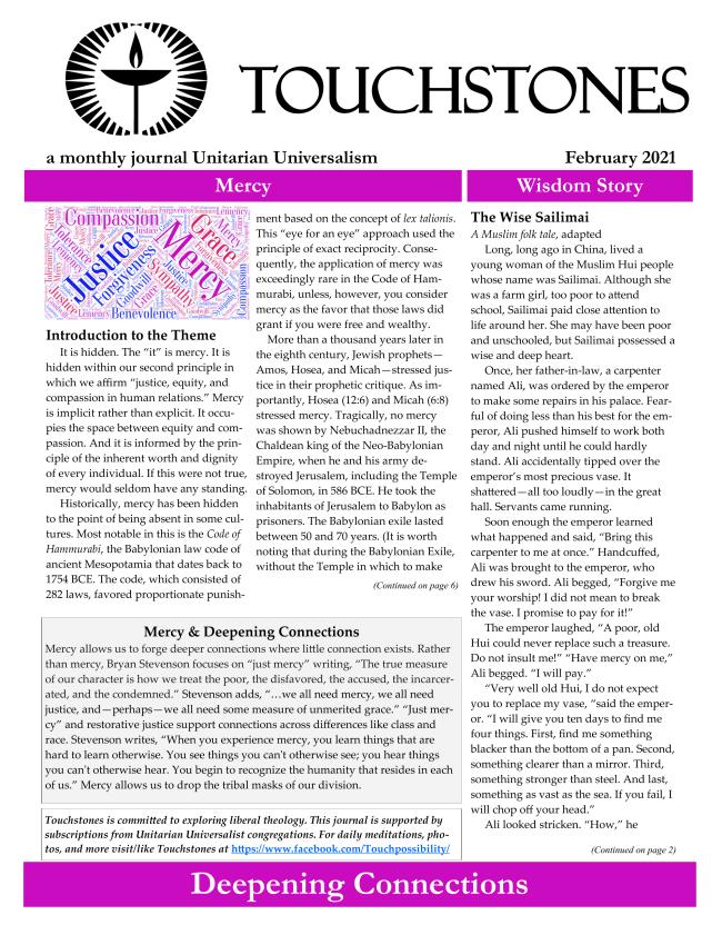 Image of Touchstones Newsletter Feb 2021