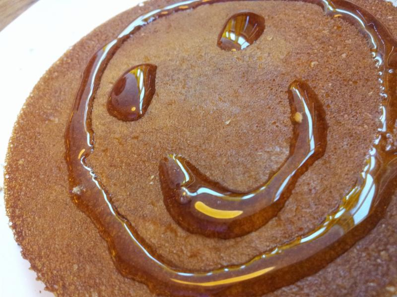 Pancake with syrup smile
