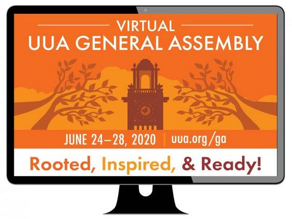 UUA GA Online Graphic on Computer Screen