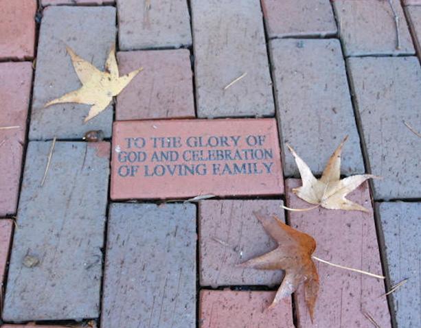 Photo of brick with custom inscription